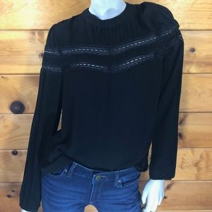 1 State NWT Black Sheer Lace Striped Blouse